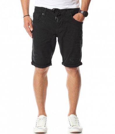 Чисто черен къс дънков панталон 11123