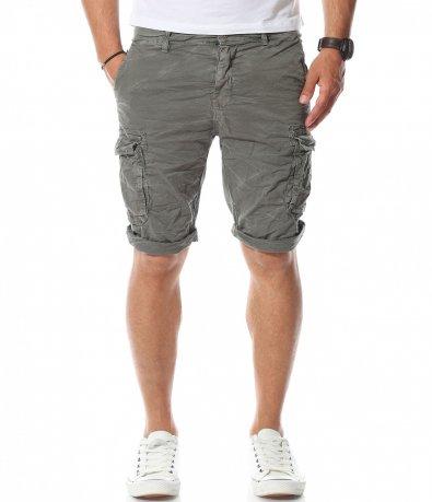 Тъмно сиви къси карго панталони 11174