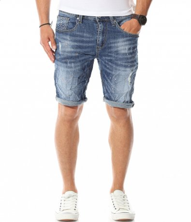 Къси дънкови панталони с пръски 11175