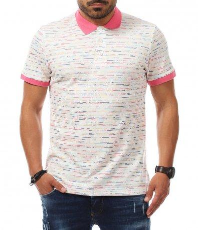 Бяла тениска с яка в розово 11220