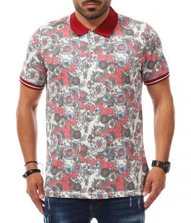 Поло тениска с пъстри  орнаменти