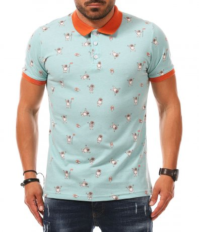 Тюркоазена polo тениска с апликация 11224