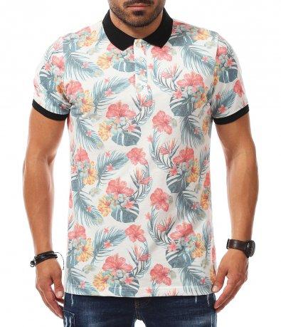 Пъстра блуза с къс ръкав 11226