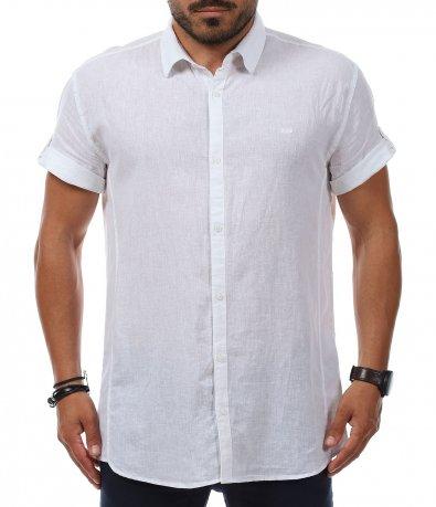 Риза с къс ръкав от лен 11243