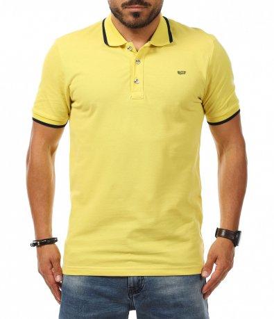 Едноцветна тениска с яка 11284