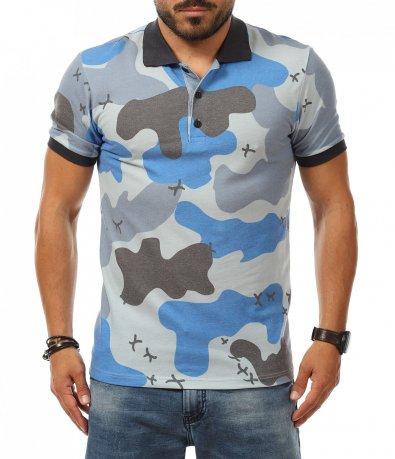 Камуфлажна тениска с яка 11065