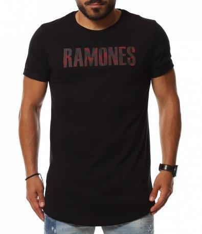 Едноцветна тениска с щампа надпис 11301