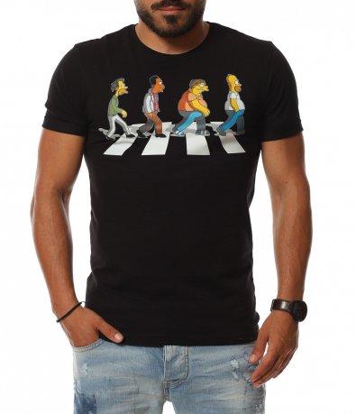 Издължена тениска с щампа SIMPSON 11302