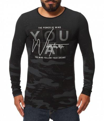Вталена тениска с принт 11536