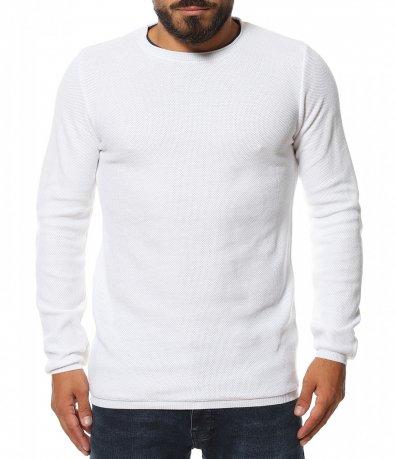 Едноцветен пуловер с кант 11577