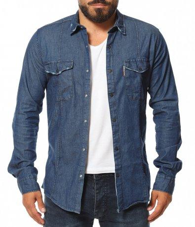 Дънкова риза с капси 11585