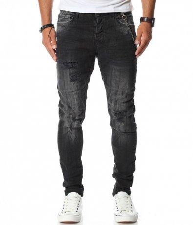 Черен деним панталон с кръпки 11593