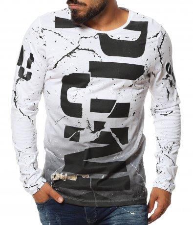 Пъстра тениска с дълъг ръкав 11627