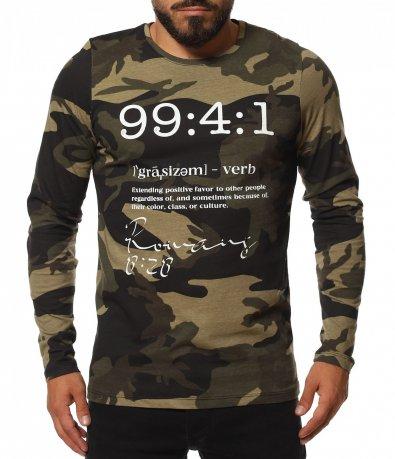 Камуфлажна тениска с дълъг ръкав 11750
