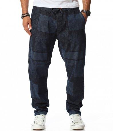 Памучен панталон с кариран десен 11783