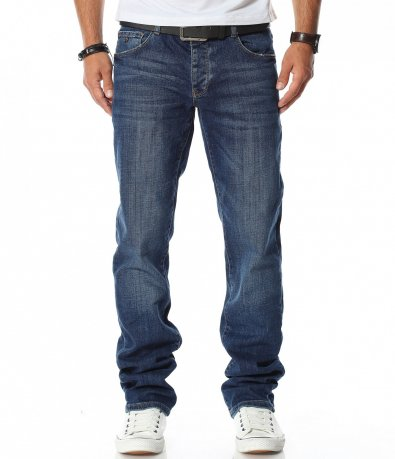 Тъмно син дънков панталон с колан 11831