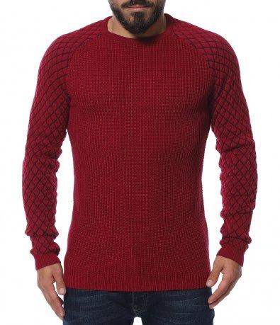 Плетен пуловер във втален дизайн 11930