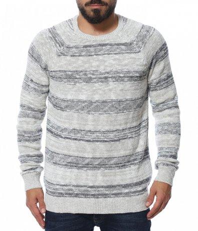 Обемен пуловер на райе 11941