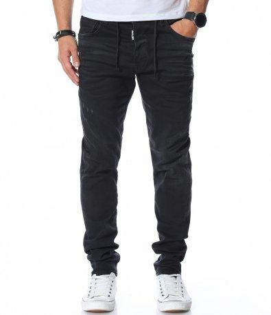 Черни дънки с декоративни връзки 11947