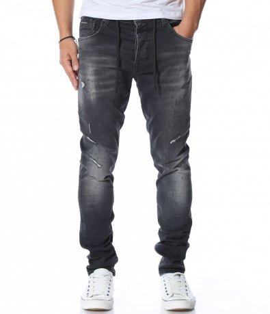 Сив дънков панталон с връзки 11948