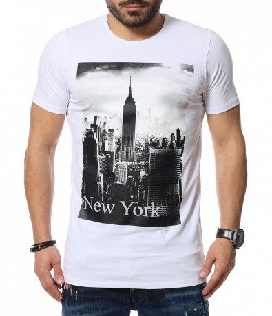 Вталена тениска с щампа 12056