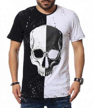 Двуцветна тениска с череп 12065