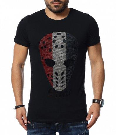 Черна тениска с  аванградна декорация 12068