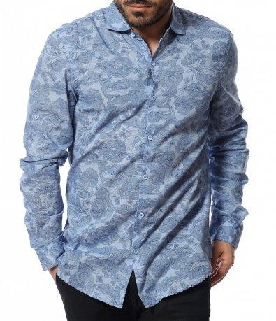 Вечерна риза с флорален принт 12093