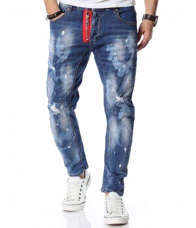Сини дънки с декорация 12133