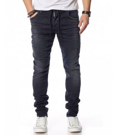 Тъмносин дънков панталон 12143