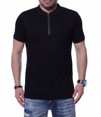Едноцветна тениска с яка 12257