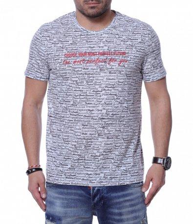 Тениска с дребни надписи 12262