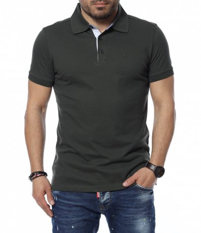 Едноцветна блуза с яка 12323