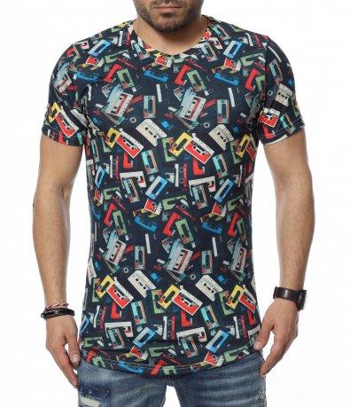 Тениска с ретро принт 12327