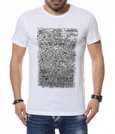 Контрастна тениска с надписи 12352