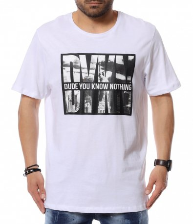 Едноцветна тениска с щампа 12453