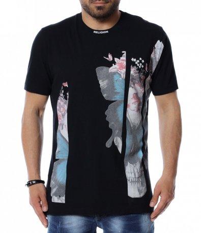 Едноцветна тениска с щампа 12484