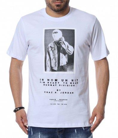 Едноцветна тениска с щампа 12485
