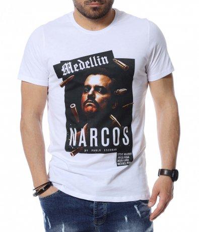 Тениска с щампа и надпис 12499