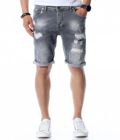 Сиви дънки с дизайн 12558