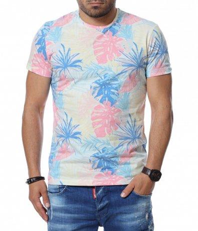Летен T-shirt с многоцветни  листа 12746