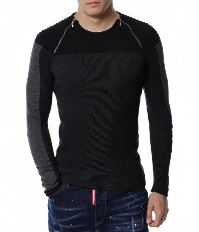 Пуловер с ципове 13174