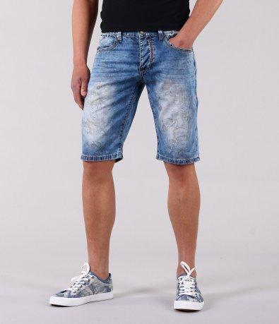 Къси мъжки дънки с флорални мотиви-12100
