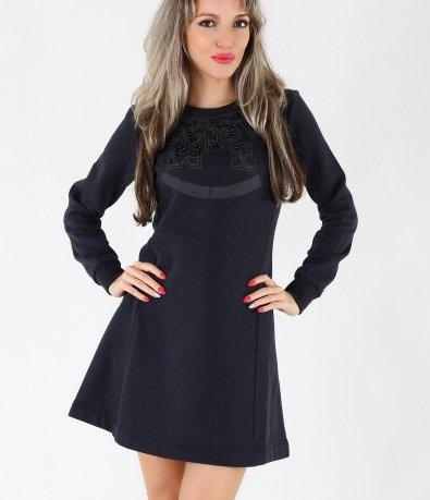 Дамска разкроена тъмно синя рокля 3914
