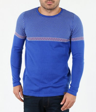 Мъжки пуловер с орнаменти 4063