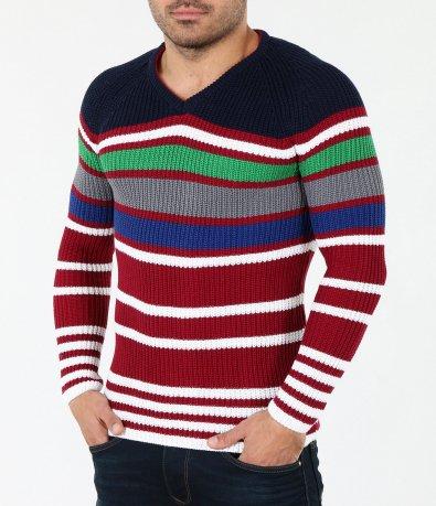 Мъжки шарен пуловер 4060