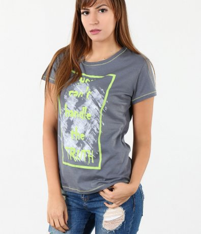 Дамска сива тениска 4219