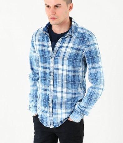 Мъжка синя карирана риза 4275