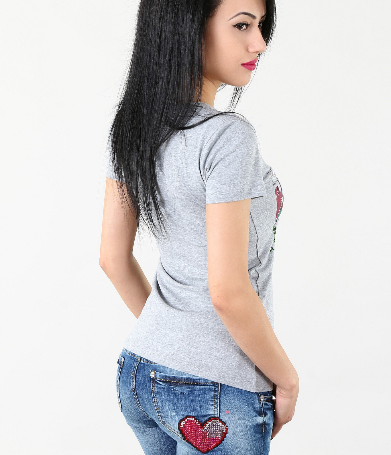 ce86e554579 Дамска модерна тениска в светло сив цвят-4326 - Red Point Варна