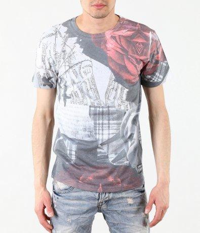 Модна сива тениска с къс ръкав 4382